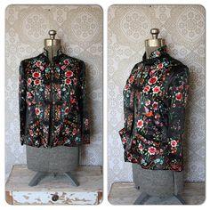 Vintage Black Silk Asian Jacket with Mandarin Collar by pursuingandie, $75.00