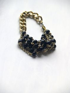 Bracelet in Gold Chain and Shiny Black by EarlyMorningProjects Handmade Jewelry, Unique Jewelry, Handmade Gifts, Gold Chains, Trending Outfits, Bracelets, Etsy, Vintage, Black