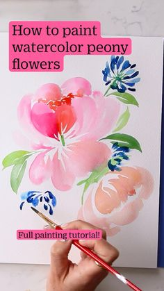 Watercolor Flowers Tutorial, Step By Step Watercolor, Flower Tutorial, Peony Flower, Peonies, Watercolor Paintings, Simple Flowers, Learn To Paint, Surface Pattern Design