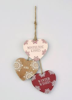 Christmas Set of 3 Hanging Wooden Hearts (9cm x 8cm)