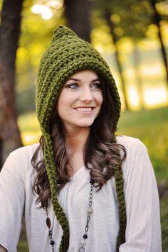 Women's Pixie Hat Crochet Hat Gnome Hat Fall by SimplyMadeByErin - green