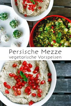 Persische Mezze Persian mezze: cream cheese balls, cucumber and pomegranate salad, baba ganoush (egg Great Appetizers, Healthy Appetizers, Appetizer Recipes, Turkish Recipes, Italian Recipes, Ethnic Recipes, Vegan Recipes, Chicory Salad, Cream Cheese Ball