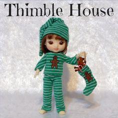 Amelia Thimble Pajamas Handmade Custom Couture: Gingerbread Jammies   ThimbleHouse - Dolls & Miniatures on ArtFire