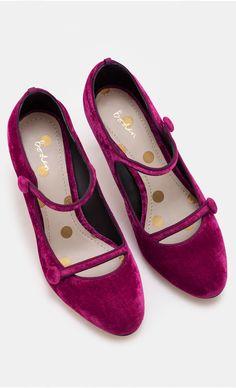 Velvet mary jane heels