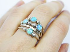 Opal ring. spheres sterling silver ring