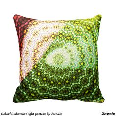 Colorful abstract light pattern throw pillows