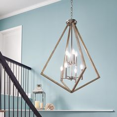 Have a big open foyer? Show that big space some love with with this prismatic two-tiered foyer lantern! Stairwell Chandelier, Chandelier Chain, Hallway Lighting, Modern Chandelier, Wall Sconce Lighting, Chandelier Lighting, Park Lighting, Lighting Ideas, Chandeliers