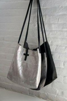 Silver-Grey-Black Linen Bag