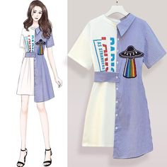 Product Type:Midi Dress Style:Fashion Sleeve Length: Short sleeves Collar-line: V neck Pattern Type: Stripe Package:1* Dress Size tips: 1. Manual measurement, around 1-3cm difference allowed. 2. Due to reason of light and display,there may be a slight color difference between the picture and real product. Size Chart(cm) Size(cm) Length Shoulder Bust S 89 48 94 M 90 49 98 L 91 50 102 XL 92 51 106 Fashion Drawing Dresses, Fashion Illustration Dresses, Korean Fashion Dress, Kpop Fashion Outfits, Girls Fashion Clothes, Mode Outfits, Cute Fashion, Fashion Dresses, Style Fashion