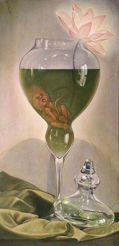 'Reborn' , made by: Paolo Pedroni Contemporary Art Artists, Weird Art, Strange Art, Illusion Art, Lowbrow Art, Creepy Cute, Pop Surrealism, Surreal Art, Digital Illustration