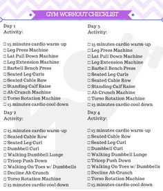 Beginner Gym Workout For Women Free Printable