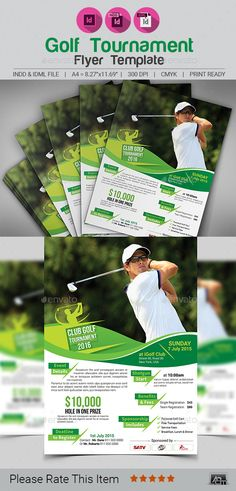 """Golf Tournament Flyer Template V2 by aam360 FEATURES: Size: 8.27""""x11.69"""" (A4 Size)Bleed: .25""""Files Included : Adobe IndesignCS4& CC(.INDD) FormatFree Fonts Used Clean & Moder"""