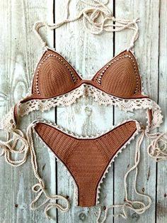 Crochet Bikini Pattern, Knit Crochet, Crochet Clothes, Diy Clothes, Lingerie Illustration, Bikini Inspiration, Cute Swimsuits, Boho Outfits, Creations