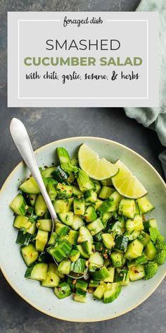 An easy recipe for Smashed Cucumbers with chili, garlic, sesame, and herbs.This healthy Sichuan Smashed Cucumber Salad Blueberry Quinoa Salad, Vegetarian Quinoa Salad, Salad Recipes Healthy Lunch, Salad Recipes For Dinner, Chicken Salad Recipes, Healthy Salad Recipes, Whole Food Recipes, Vegetarian Recipes, Carrot Salad