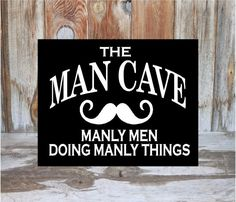 MAN CAVE SIGN home decor guy room family wood decor by invinyl, $15.00