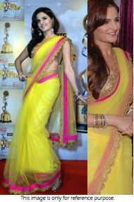 Bollywood Style Monica Bedi 60 Gram Georgette Saree In Yellow Colour NC550