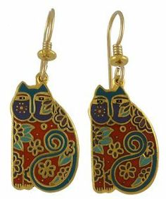 laurel Burch cat earrings - matching