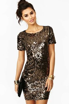 Solid Gold Sequin Dress - emma's NYE wedding