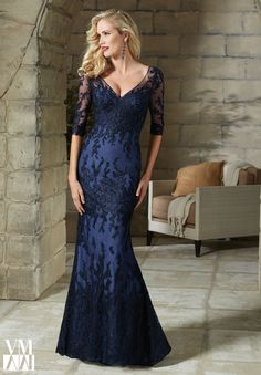 Evening Gowns and Mother of the Bride Dresses by VM Collection Beaded Embroidery on Net Available in Black, Navy