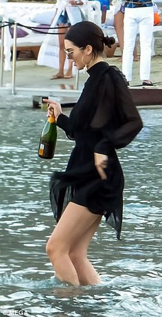 Heading in: Kendall was pictured on Nammos Beach