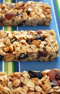 Granola Bars recipe from Jenny Jones (JennyCanCook.com) - Full of protein and fiber plus dried cherries and chocolate chips.