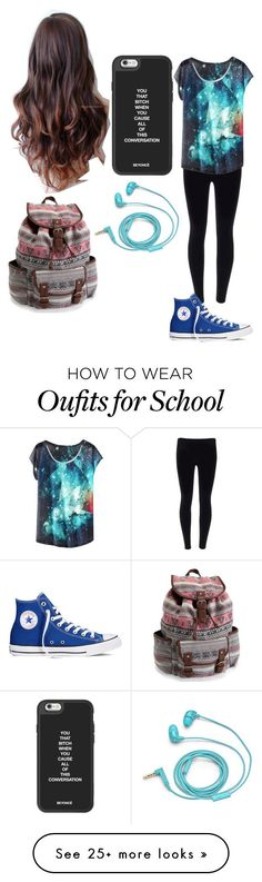 """School"" by magcon1d on Polyvore featuring Converse, Aéropostale and FOSSIL"