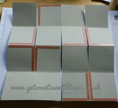 """One Sheet Wonder 8 Pocket Mini Album. Also known as the Maze Book. 1. Take 12x12-inch square and score at 3"""", 6"""" and 9"""", then fold accordion style. 2. Turn the paper 90 degrees and do the same thing in the other direction so it is divided into 16 equal portions. 3. Photo of Adhesive Side 1."""