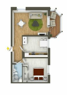 40 More 1 Bedroom Home Floor Plans. A one bedroom apartment can be plenty of space if you know how to organize things. There are plenty of ways to layout a one bedroom, no matter what the size. Apartment Floor Plans, Bedroom Floor Plans, House Floor Plans, Apartment Layout, One Bedroom Apartment, Apartment Design, Small Space Interior Design, 3d Home, Bedroom House Plans