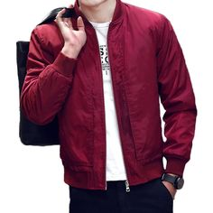 Mens Bomber Jacket Fashion Softshell Zipper Sportswear Lightweight Slim Jacket Coat at Amazon Men's Clothing store: