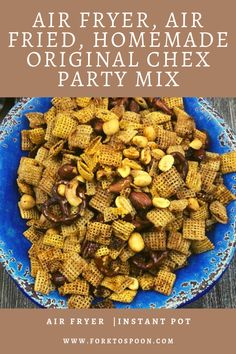 Air Fryer, Air Fried, Homemade Original Chex Party Mix chex party mix in air fryer chex mix recipe ninja foodi chex mix chex mix traditional ingredients party mix recipes chex mix ideas chex mix cereal cereal snack mix Air Fryer Recipes Appetizers, Air Fryer Recipes Breakfast, Air Fryer Oven Recipes, Air Frier Recipes, Air Fryer Dinner Recipes, Breakfast Cooking, Chex Party Mix, Air Fryer Review, Chex Mix Recipes