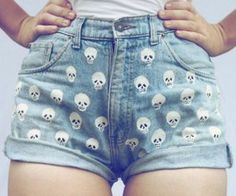 I would make these but with only one skull on the bottom left of my shorts, above the hem