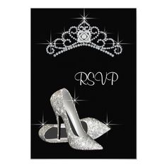 Black White High Heels Quinceanera RSVP 3.5x5 Paper Invitation Card