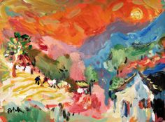 Original Painting  Abstract Expressionist Landscape by RussPotak, $165.00