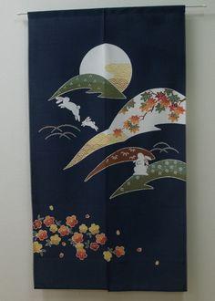 NOREN japanese hanging curtain Tsuki Usagi rabbit & moon 80 x - ManekinekoAi Noren Curtains, Hanging Curtains, Japanese Door, Japanese Textiles, Papa Francisco, Curtain Designs, Cozy Place, Nihon, Japanese Design