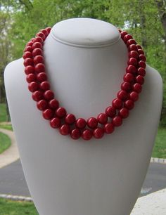 Chunky Red Necklace 2 Strand Statement, Seeing Red. $39.00, via Etsy.