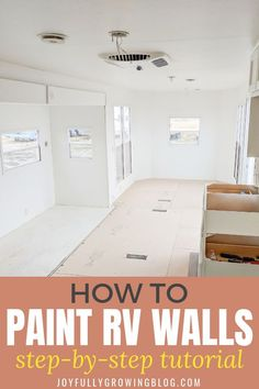 How we painted our RV walls ourselves without going crazy! Use this tutorial to paint RV interior walls the right way. How to paint over existing rv wallpaper. rv remodel How to Paint RV Walls Camper Interior, Diy Camper, Interior Walls, Interior Painting, Beach Camper, Travel Camper, Trailer Interior, Interior Livingroom, Camper Ideas