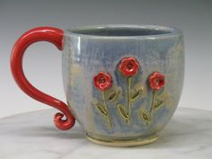 Mug - Large hand made ceramic Red Flowers teacup or coffee mugs.  Thrown on a potters wheel, hand altered, with slip trail rose accent.  These Sweet