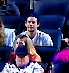 Dylan O'Brien at a Mets game on July 14th 2017. gif
