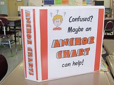 Running out of wall space?  Instead of having a million anchor charts hanging around your room this teacher came up with an Anchor Chart binder. She takes pictures of all educational and instructional charts and filese them in a 3 ring binder.