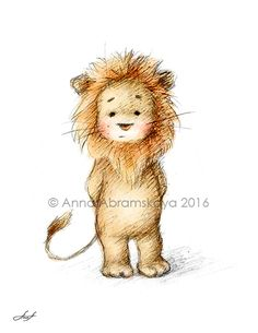 Nursery Animals Series. Baby Lion. Also available for download at https://www.etsy.com/listing/464731150/pencil-and-watercolor-drawing-of-lion?ref=shop_home_active_3