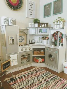 Cute play kitchen setup baby stuff kids playroom is one of images from playroom set up ideas. Find more playroom set up ideas images like this one in this gallery Diy Play Kitchen, Toddler Play Kitchen, Play Kitchens, Toy Kitchen, Kitchen Ideas, Backyard Playhouse, Toy Rooms, Big Girl Rooms, Kids Furniture