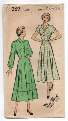 """1940's New York One Piece Shirtwaist Dress with Cap or Long Sleeves Pattern - Bust 38"""" - No. 369 by backroomfinds on Etsy"""