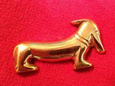 Vintage Dachshund Brass Brooch Pin