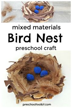 A bird nest is fun to make with mixed materials. This activity is a great hands-on craft to add to a spring theme with preschoolers. Challenge early learners to choose materials and construct a bird nest using a variety of materials. Bird Nest Craft, Pre K Activities, Stem For Kids, Spring Theme, Creative Skills, Learning Through Play, Craft Materials, Preschool Crafts, Art School