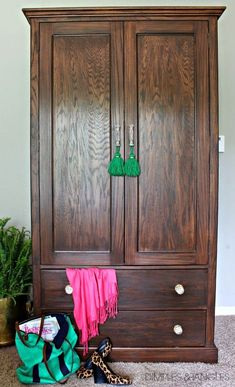 Oak Armoire / Wardrobe makeover using General Finishes Antique Walnut Gel Stain || simple tutorial