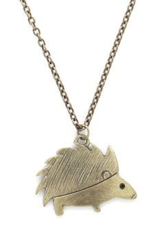 Hedgehog Pledge Necklace. You showcase your affection for all of the worlds creatures with pieces like this hedgehog pendant necklace.  #modcloth