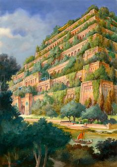 tower of babel hanging gardens of babylon Ancient Mesopotamia, Ancient Civilizations, Flora Und Fauna, Tower Of Babel, Fantasy City, Seven Wonders, Ancient Architecture, Gothic Architecture, Teaching History