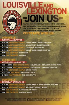"Deschutes Brewery Event Poster - Kentucky   www.LiquorList.com ""The Marketplace for Adults with Taste!"" @LiquorListcom   #LiquorList"