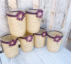 Rustic Wedding Jars - Shabby Chic Country Upcycled Mason Jar Candle Holders, Vases, Centerpieces, Decor SET OF 12 by HuckleberryVntg on Etsy Wedding Jars, Wedding Centerpieces, Diy Wedding, Wedding Decorations, Wedding Ideas, Purple Wedding, Wedding Colors, Mason Jar Candle Holders, Mason Jar Candles