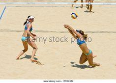 ROME, ITALY - JUNE 16 2011. Beach volleyball world championships. Greece women team players Vassiliki Arvaniti and Maria Tsiartsiani in action - Stock Image